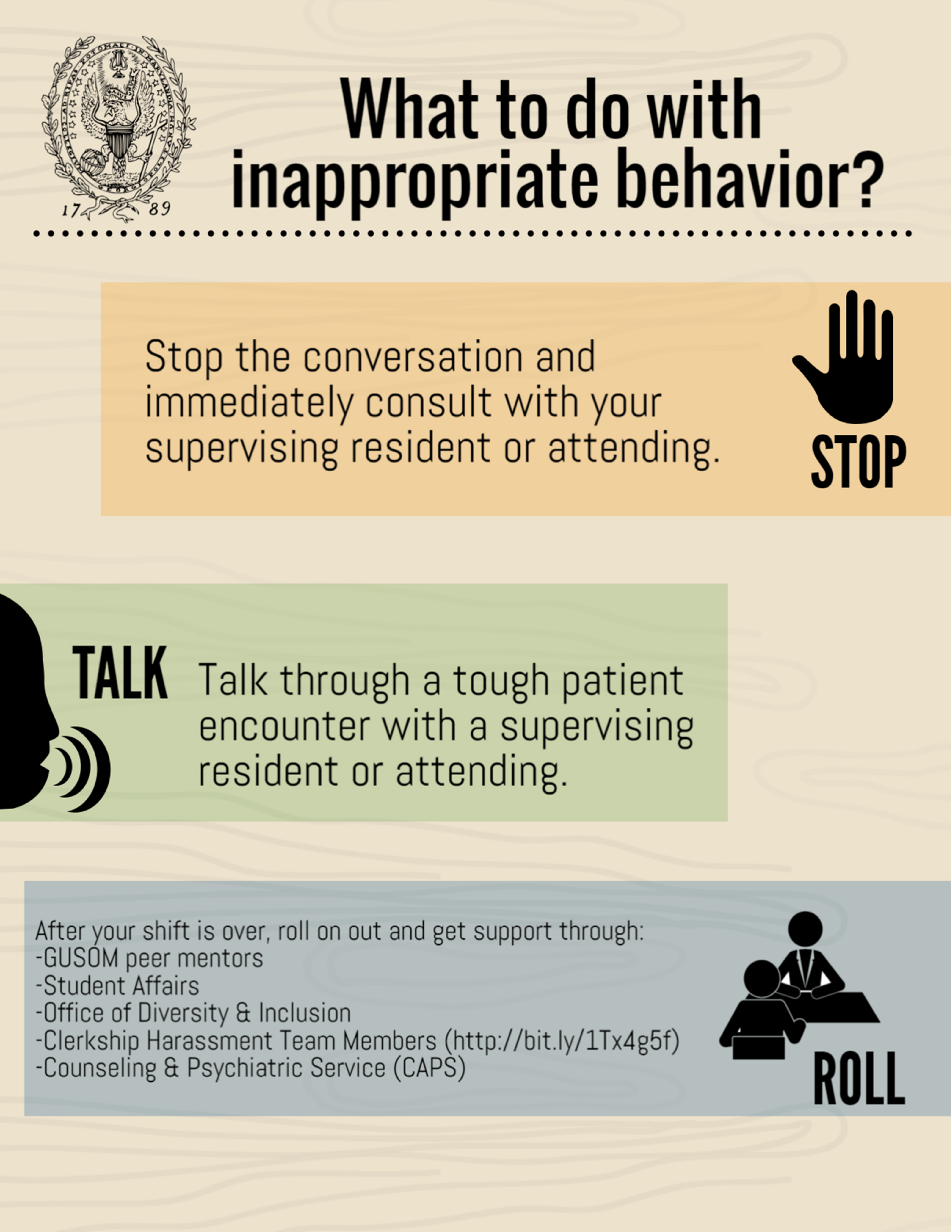 What to do with inappropriate behavior? Stop, Talk, Roll. Infographic transcription below.