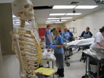 students in the simulation lab