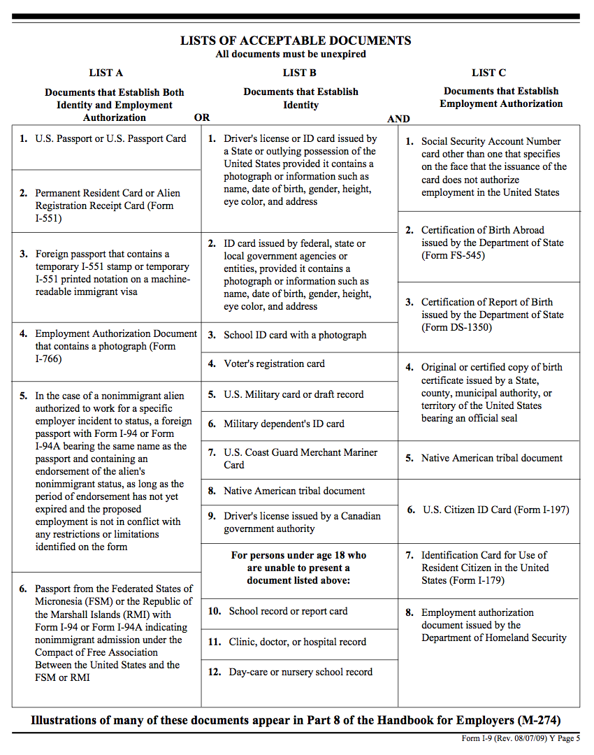 Lists of Acceptable Documents. Link to text provided below image.