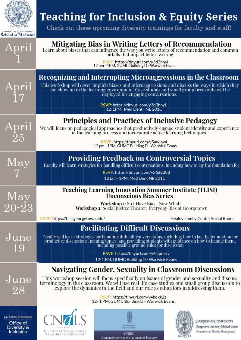 Teaching for Inclusion and Equity Series Flyer