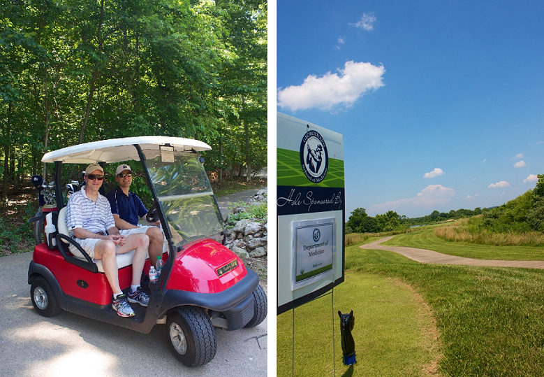 Composite image of golf cart and golf course