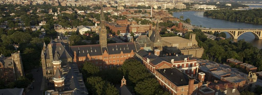aerial photo of Georgetown University campus