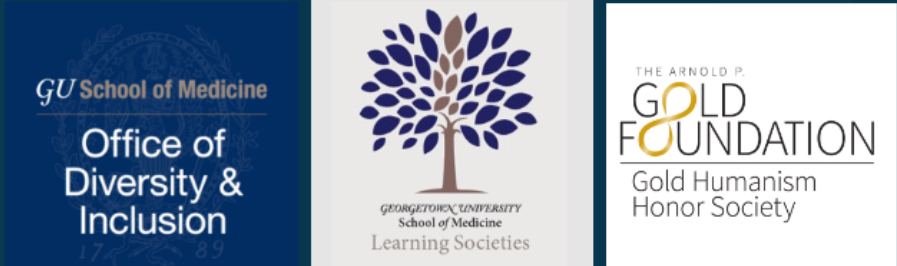 Logo of GUSOM Learning Societies, Gold Humanism Honor Society, and Office of Diversity and Inclusion