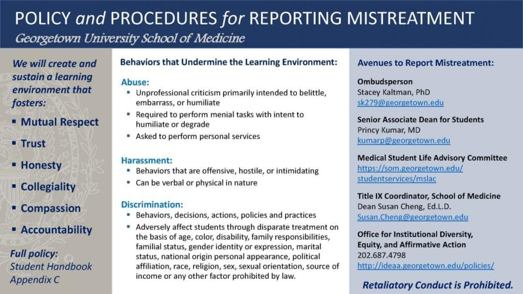 Infographic titled Policy and Procedures for Reporting Mistreatment, Georgetown University School of Medicine, text version below