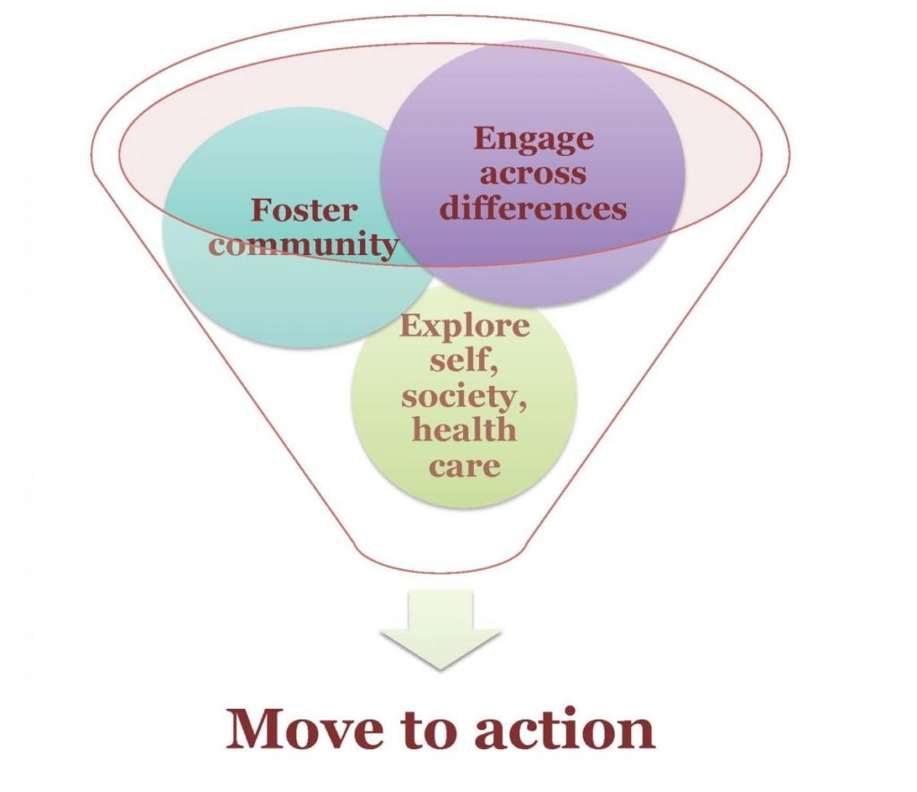 Diagram showing Goals, Moving to action, for the Diversity Dialogues in Medicine (DDIM) program.