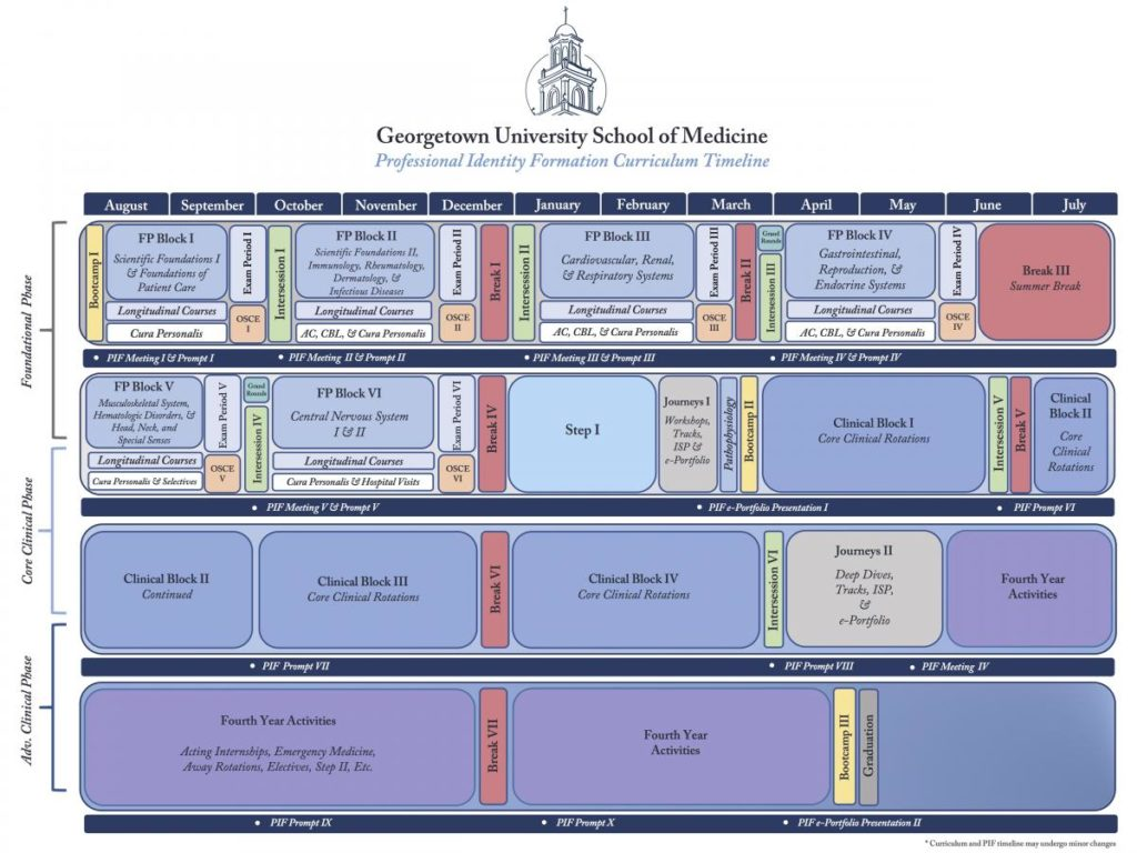 Graphic representing Professional Identity Formation Curriculum Timeline