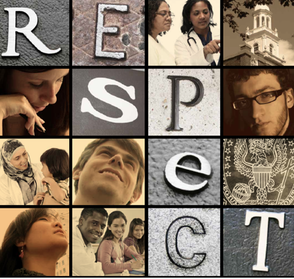 collage of images and letters that spell, Respect