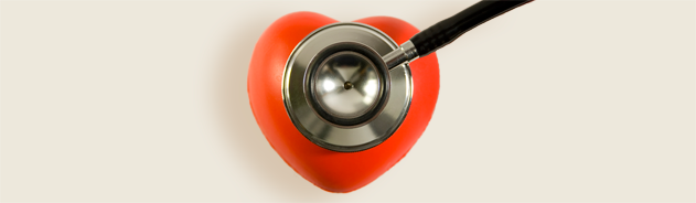 Photo of a stethoscope on a red heart