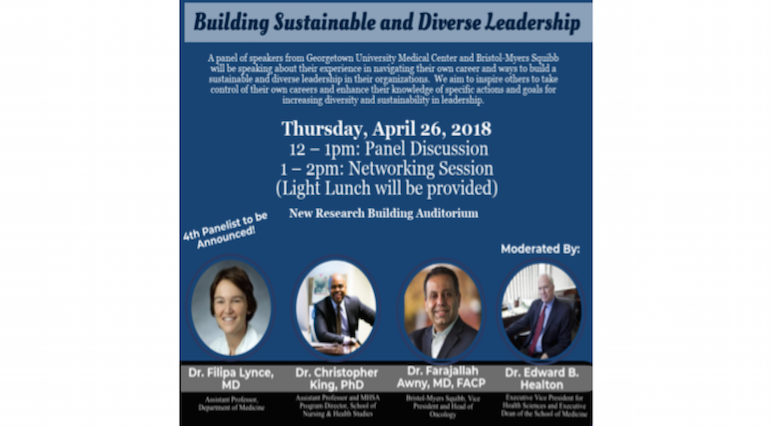 Picture of Flyer from Building a Sustainable and Diverse Leadership featuring pictures of panelists.