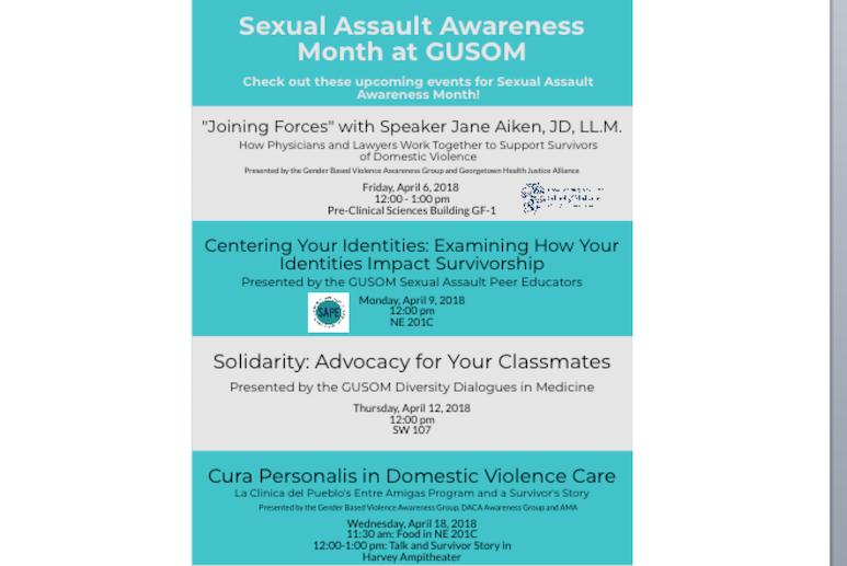 Picture of all events that occurred during Sexual Assault Awareness Month