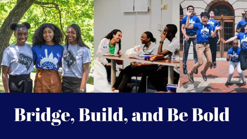 "A collage of pictures of ARCHES Fellows (from the left): ARCHES fellow Diamond Pinder with her GEP mentees; Arches fellow Shani Kamberi with her GEP mentees; and a candid photo of ARCHES fellows outside the Medical Dental Building.  Below the collage, a caption that reads, ""Bridge, Build and Be Bold"" against a dark blue background."