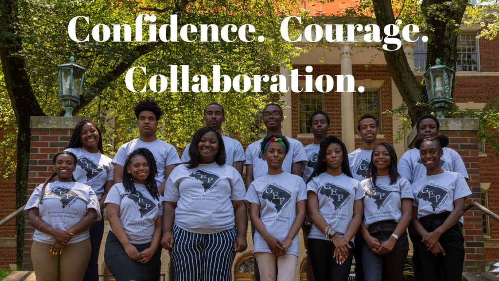"A group photo of the 2019 GEP scholars standing at the entrance to the Medical Dental Building. A caption that reads ""Confidence. Courage. Collaboration."""