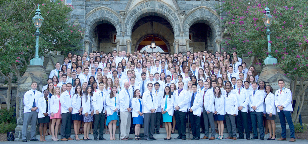 Group shot of the Class of 2020 at GU School of Medicine