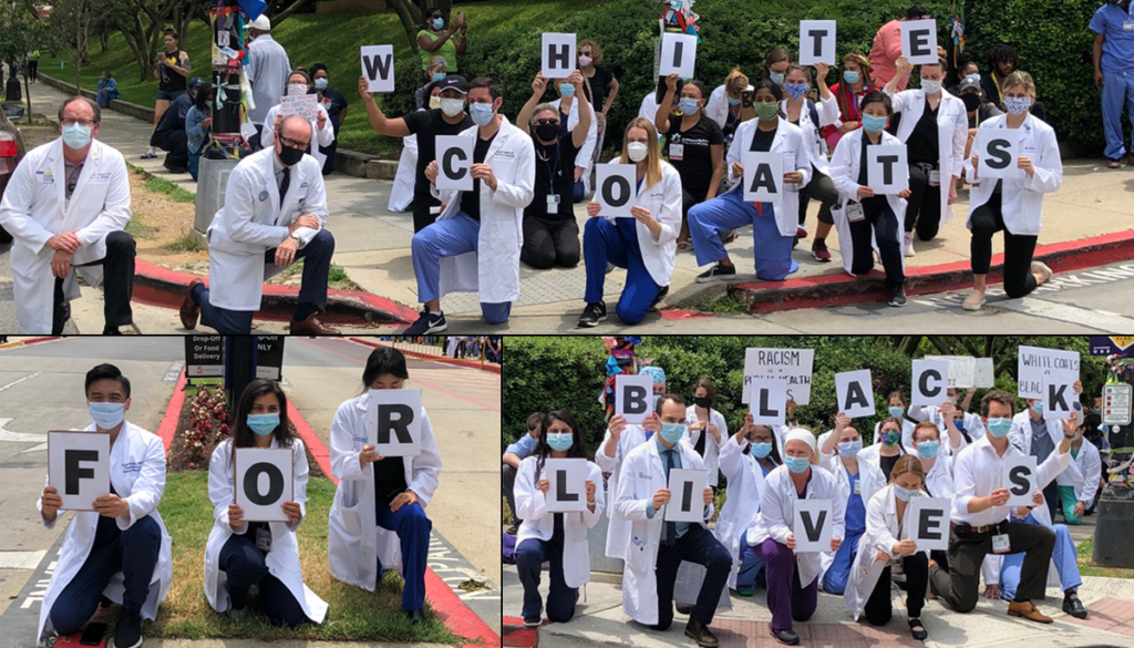 """Composite image of doctors protesting and holding up signs that spell out """"White Coats for Black Lives"""""""