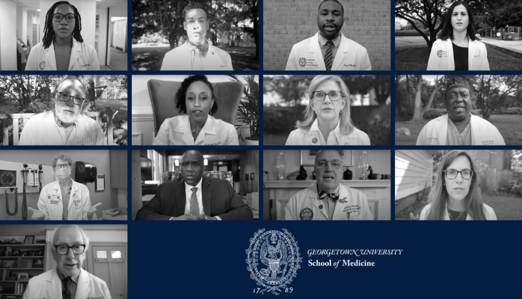A collage of the portraits of those individuals leading the RJCC and who are featured in the linked video, along with the GU School of Medicine logo