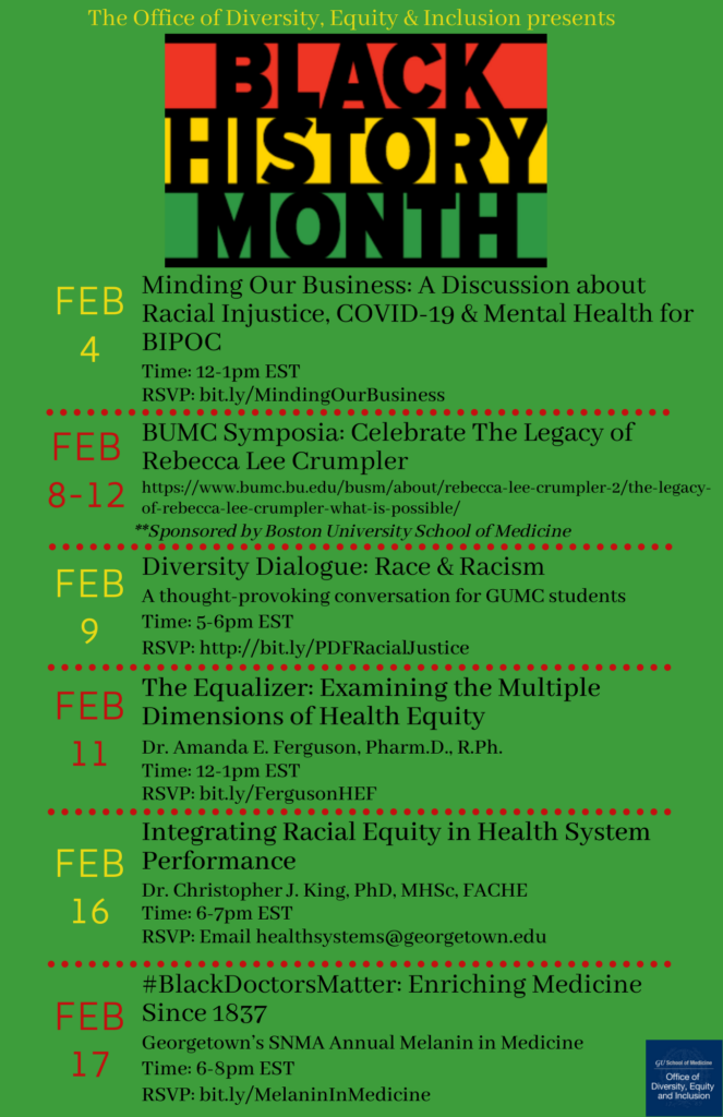 Graphic presenting events offered by the Office of Diversity, Equity & Inclusion as part of Black History Month. See dropdown below for transcript of image text.