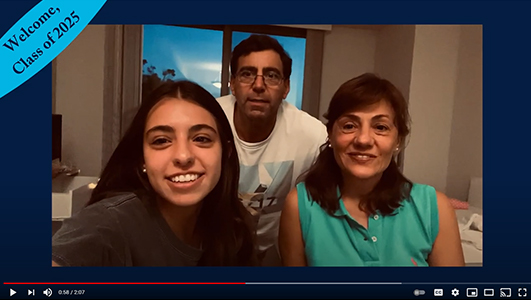 Screenshot of three individuals in a family